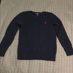 Navy Polo Cable-Knit Sweater